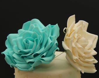 Large Gumpaste rose for cake decorations. Filler flowers fondant sugar wedding cake toppers cupcake roses. Blue/white/pink/ivory/teal..