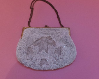Vintage Beaded PURSE White With Gilt Handle