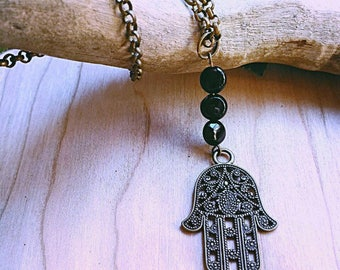 Hamsa necklace with stones (customizable)