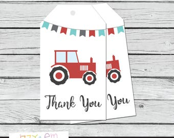 Tractor Favor Tags - Tractor Thank You Tags - Tractor Birthday Favor Tags - Printable Favor Tags - Party Favor Tag - Tractor Birthday Favor