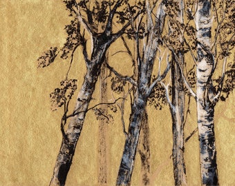 Birches - 200 mm x 300 mm - Golden Background