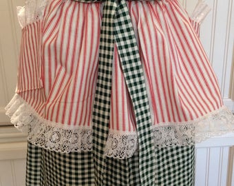 Vintage style apron skirt mix and match to a reversible button on bodice red ticking stripe green gingham check long ties white lace ruffle