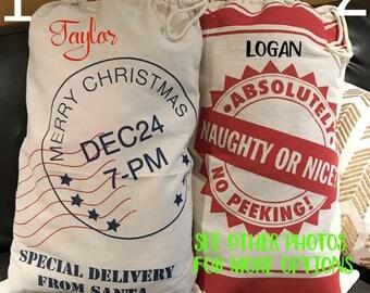 SALE Personalized Santa Sack - Santa Claus Sack - Christmas tote - Holiday Sacks - Holiday Bags- Name on Santa Sack bag, Christmas tree deco