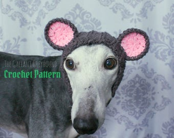 Mouse Snood for Greyhounds Crochet Pattern (PATTERN ONLY)