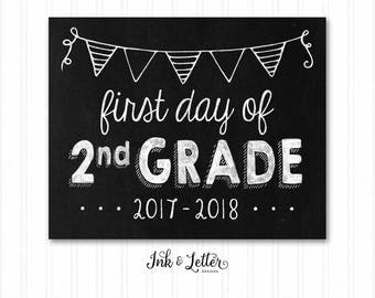 First Day of Second Grade Sign - First Day of School Sign  - School Chalkboard - First and Last Day of School - 2nd Grade - Instant Download