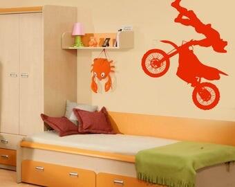 Wall Vinyl Decal Motorcycle Racer Motocross Sport Jump Racer Teen Room Decor 2472dn