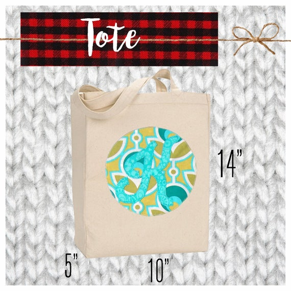 CYBER MONDAY 2017 SALE!  Applique Initial Canvas Tote, Bag, Teacher Tote, Custom, Personalized, Initial, Apple