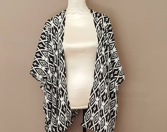 Sale! Black and White Tribal Print Kimono Cardigan