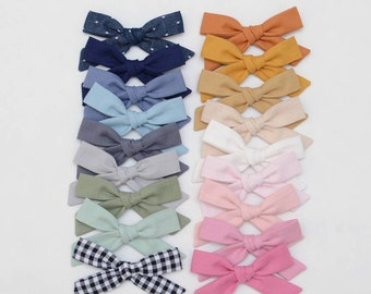 2 Hand Tied Schoolgirl Bows Cotton Kona Hair Clip, Choose Your Style
