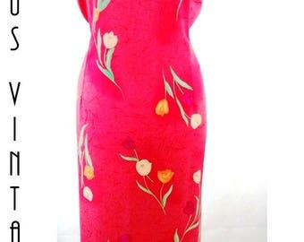 """Plus Size UK 20 Vintage 1970s Maxi  Dress Column  Pink Floral Tulips EU 48 US 16 Bust 46"""" 117cm"""