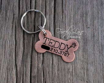 Hand stamped copper dog bone ID tag / dog tag for dogs / dog ID tag