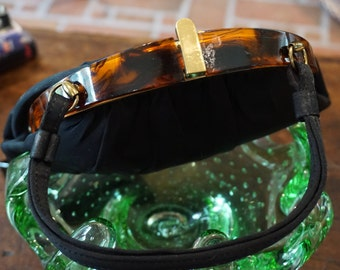 1950's Black and Brass Lucite Tortoise Shell Evening Purse