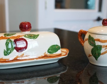 Vintage Franciscan Apple Butter Dish and Sugar Bowl/ Serving Pieces/ Hostess Pieces/ Gladding, McBean, & Co.