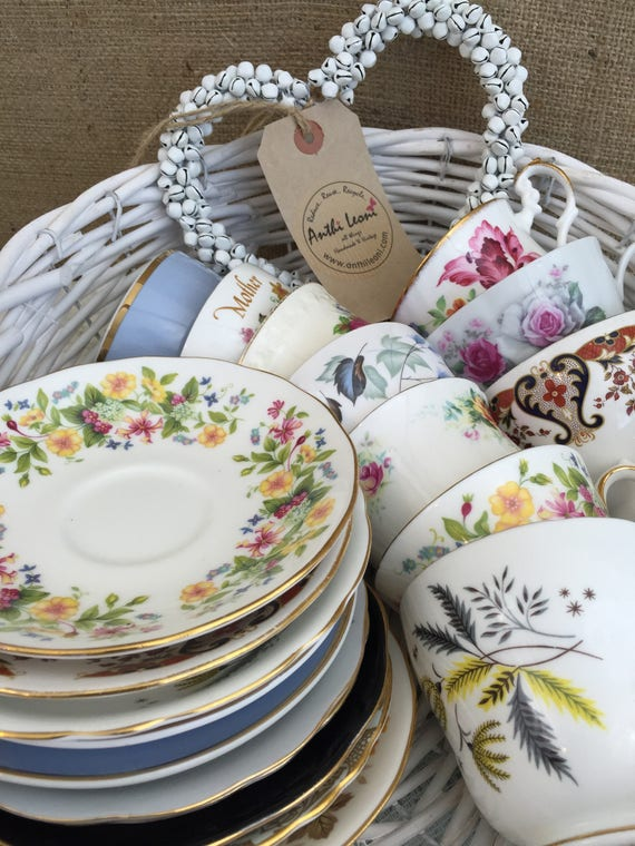 Mismatch Vintage China | Alice Tea Time Party | Mix Match China | Mismatch Wedding China | Mismatch Tea Cups and Saucers | Wedding China