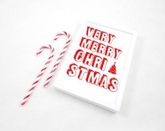 Very Merry Christmas Printable Print, Printable Art Print, Christmas Decor, Christmas Gift, Typography Poster, Christmas Art, PDF Print, JPG