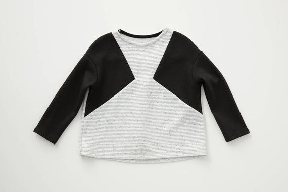 ROSE - long-sleeves flared sweater, jersey or pullover for kids: boys or girls - Oreo, Blanc texturé