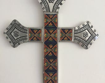 Pewter and ceramic cross