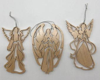 Angel Trio Ornament Set - Maple