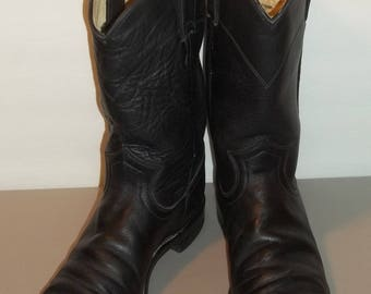 Vintage Boots Justin Roper Boots Cowboy Boots Cowgirl Boots Black Leather Boots Western Boots Womens Boots Size 6 B T30 MA7178