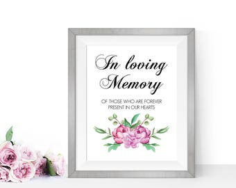 In loving memory wedding sign, Wedding memorial sign, PRINTABLE wedding signs, Wedding reception sign
