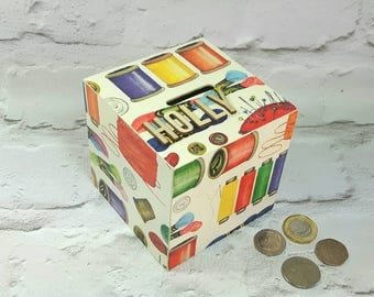 Personalised Sewing Money Box, Sewing Box, Money Box, Wife Gift, Piggy Bank, Gift for Her, Gifts for Sewers, Christmas, Stocking Fillers