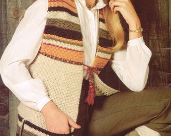 Vintage Crochet Pattern from 1980 - Women's Striped Vest - PDF Download - Retro - 80's