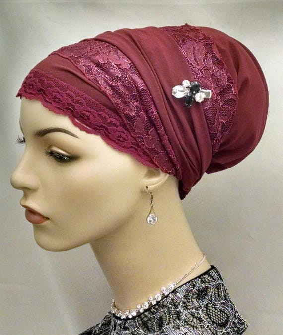 Exquisite maroon and lace sinar tichel, tichels, head coverings, chemo scarves, head scarves