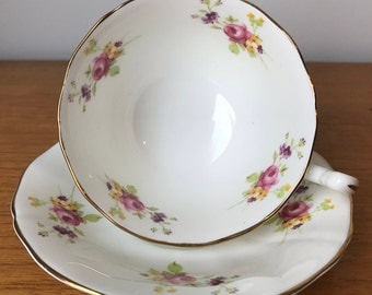 Adderley Vintage Tea Cup and Saucer, Floral English Bone China Teacup and Saucer