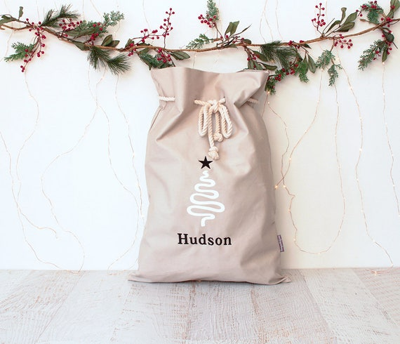 Personalised Santa Sack Tree with Black Star