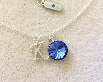 Swarovski birthstone necklace sapphire birthstone necklace sapphire Swarovski crystal September mom birthday gifts birthstone jewelry