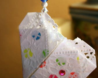 Origami Paper Rainbow Dot Lace Heart Hanging Ornament