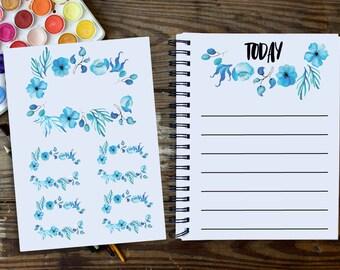 Blue Flower Sticker, Flower Border Sticker, Floral Sticker, Decorative Sticker, Bullet Journal Flower, Bullet journal Decorative Sticker