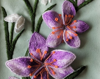 Crocus and Snowdrop Stumpwork Embroidery Kit
