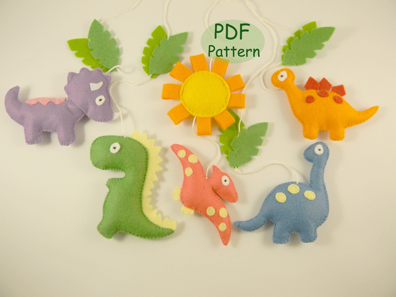 Pdf dinosaur patterns diy dinosaur mobile sewing felt baby for Diy baby mobile felt