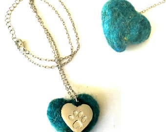 Turquoise Pet Pendant, Needle Felted Rustic Heart Pendant, Silver Paw Heart Pendant, Unique Felted Pendant, Cat lovers Gift, Dog lovers Gift