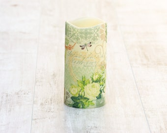 Decorative Spring Floral Pillar Candle, LED Candle with Floral Print, Green Flameless Candle, Whimsical Home Decor, Flower Print