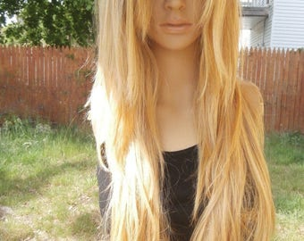 Ombre Dark Roots To Blonde Lace Front Wig Hair 26''