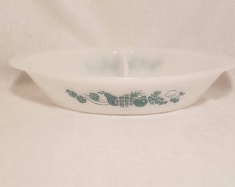 GLASBAKE DIVIDED DISH Casserole Oval Aqua Teal Fruit Heavy White Milk Glass Oven Proof Serving Country Kitchen Farmhouse Vintage