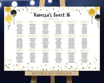 Sweet 16 template etsy for Sweet sixteen program template