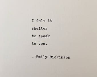 Emily Dickinson quote hand typed on antique typewriter
