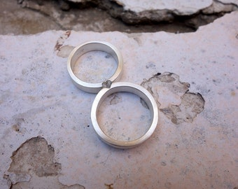 Matching Wedding Rings Wedding Band set Mixed Metals Wedding Rings His and Hers Wedding Rings Brushed Matte Finish Textured Personalized