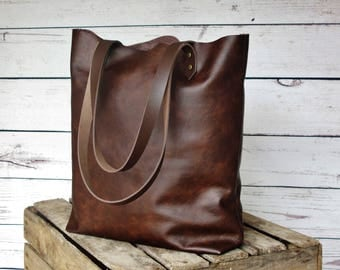 Dark brown leather tote bag, leather shopper, real leather tote, shoulder bag, leather bag, leather purse, leather tote bag
