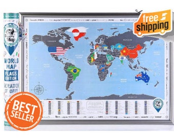 Best Christmas Gift.  Scratch off World Poster with Flags. Stylish Design. Quality Silver Scratch.