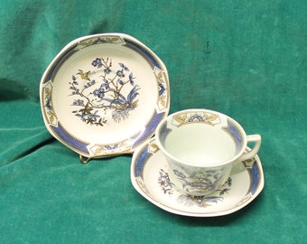 """Adams Calyx Ware """"Ming Toi"""" English Ironstone by Wedgwood one (1) cup & two (2) saucers in aqua and blue oriental pattern"""
