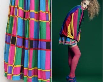 Rainbow Pleated Skirt / Flirty Mini Skirt / Size 8-10