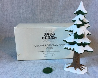 "Vintage Department 56 Heritage Village ""Village Porcelain Pine Tree Large"", Christmas Village Figurine"