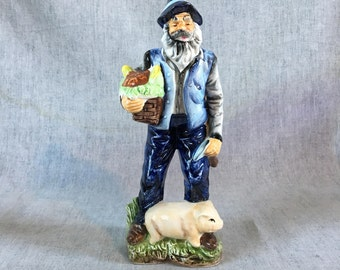 Vintage Wales of Japan Porcelain Old Farmer with Pig Figurine, Old Man Figurine