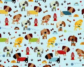 dachshund Fabric,Puppy fabric by the yard,dog Fabric,Baby blue fabric,dachshund fabric by the yard