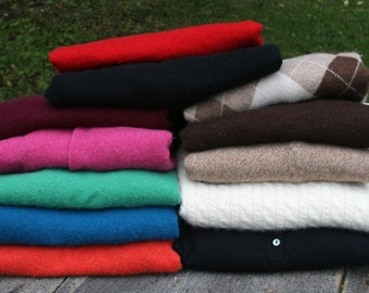 Cardigan and Crew Neck 100% Pure Cashmere sweaters. No holes. Multiple colors and sizes. Up-cycled