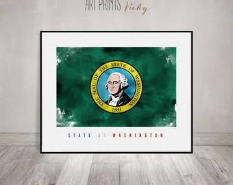 Washington state flag, art print, Wall art, flag painting poster, United States flag, travel poster, gift, office decor, ArtPrintsVicky